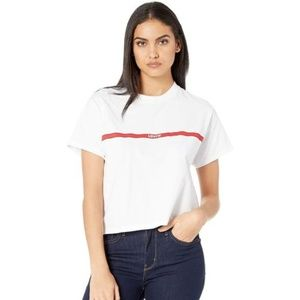 Levis White Graphic Varsity Tee  Women Size: Small